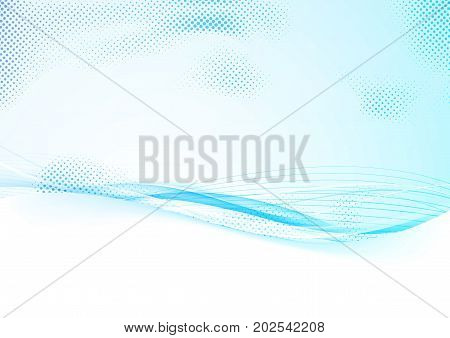 Blue abstract gradient border background with mild swoosh stream lines. Futuristic elegant dotted speed wind transparent smooth wave divider. Vector illustration