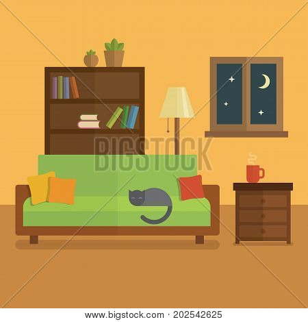 Cozy room interior flat illustration. Bookcase with books and plants cat sleeping on a green sofa cup of tea on the table