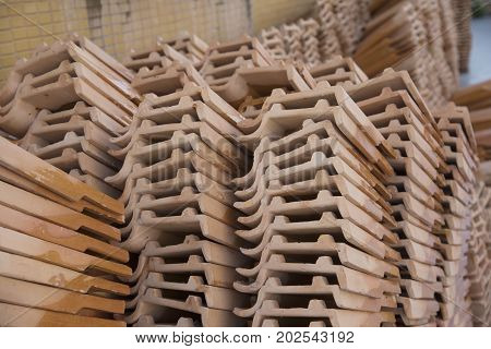 roof tile object background Stack of roof tile in Thailand temple.