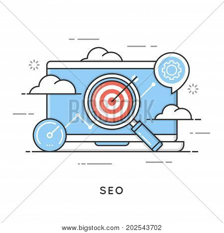 SEO, search engine optimization, content marketing, web analytics. Flat line art style concept. Vector banner, icon, illustration. Editable stroke.