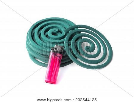 mosquito repellent coils and a lighter isolated on white background