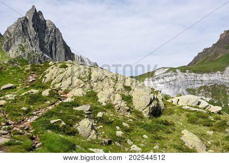 Mountain landscape over lake Tremorgio on Canton Ticino in the Swiss alps