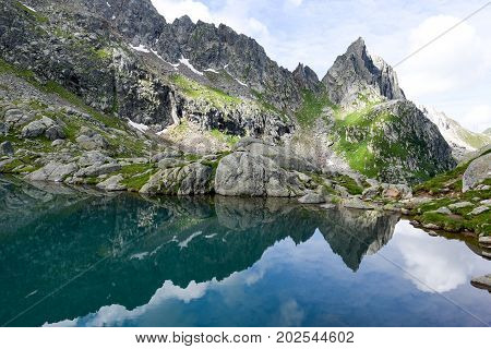 Lake Leit on Canton Ticino in the Swiss alps