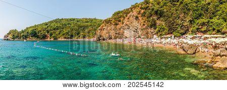Budva, Montenegro - August 18, 2017: Panorama of Mogren beach in Budva, Montenegro.