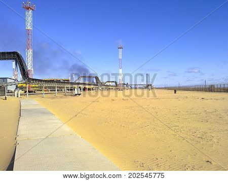 The Industrial Facility Of The Oil Company. Oilfield Equipment. Industrial Oil And Gas Infrastructur