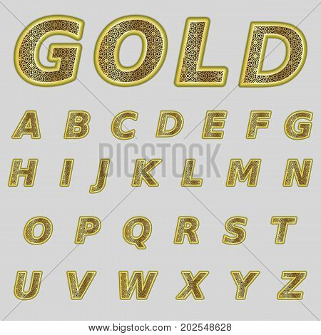 A complete set of Latin gold letters with a lace mesh inside. Font is isolated by a grey background. Letters are made in 3D shapes with smooth edges. Floral ornament. Vector illustration.