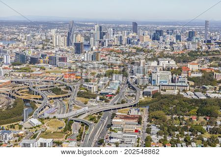 BRISBANE, AUSTRALIA - AUGUST 1 2017: Aerial view of Brisbane's Inner City Bypass and cityscape, view over Bowen Hills area from the north looking towards the CBD