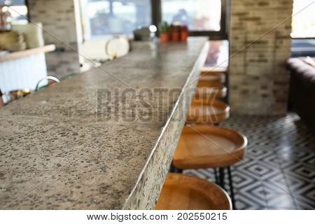 Bar counter in modern restaurant