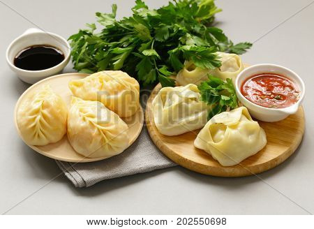 Asian food, manti (dim sum) stuffed with meat and vegetables