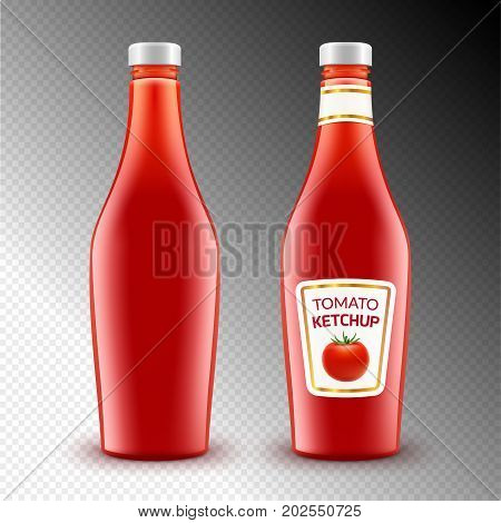 Tomato ketchup bottle on white. Vector ketchup product container. Red sauce food illustration.