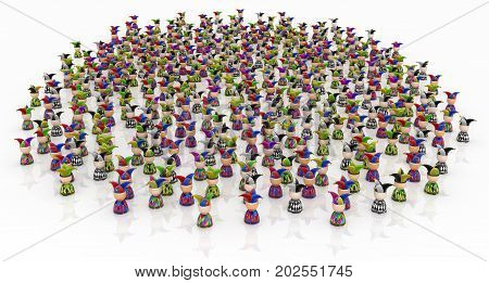 Crowd of small symbolic jester figures 3d illustration horizontal isolated over white