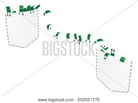 Dollar money symbol cartoon characters two pockets transfer 3d illustration horizontal isolated over white