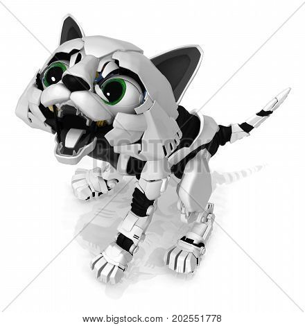 Robotic kitten mouth open hissing 3d illustration horizontal isolated