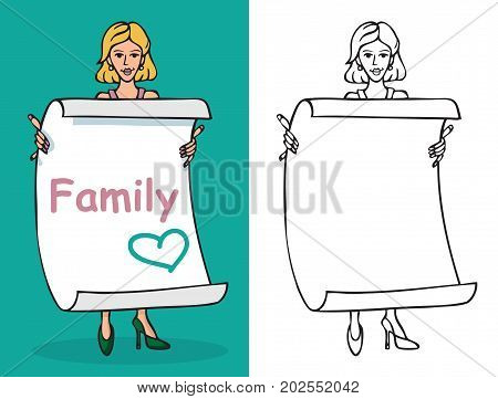 illustration of a woman holding a sheet of paper with an inscription family and a blank sheet on a white background