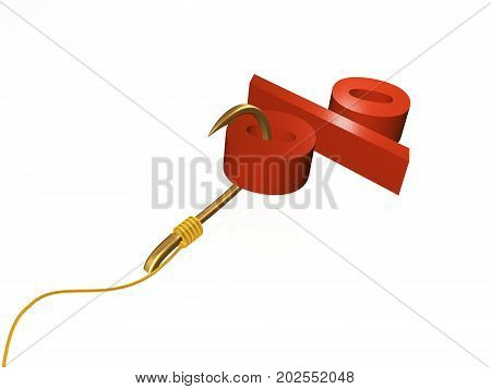 Hook with percent sign on white background 3D illustration.