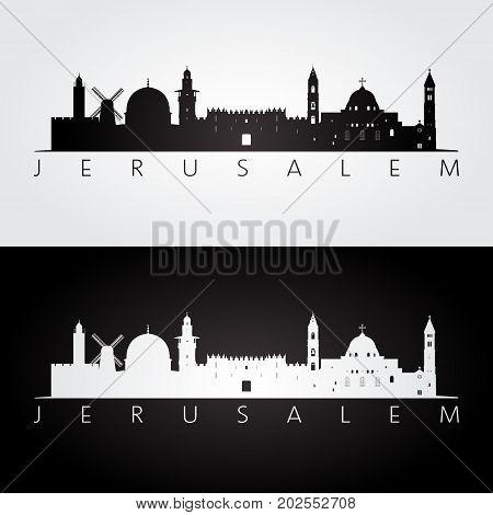Jerusalem skyline and landmarks silhouette black and white design vector illustration.