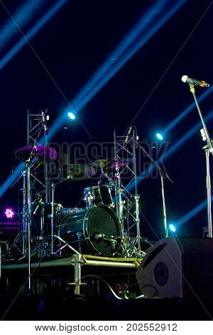Live Music Photo Background, Rock Drum Set With Cymbals. Closeup Photo, Soft Selective Focus