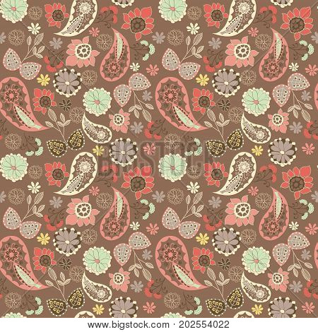 hand drawn cute graphical oriental paisley pattern with flowers. Oriental decorative ornament Vector background.