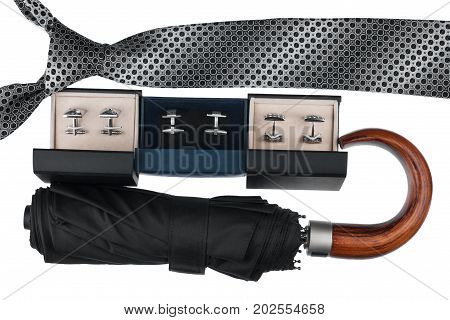 Classic mens accessories tie umbrella cufflinks. Isolated on white background