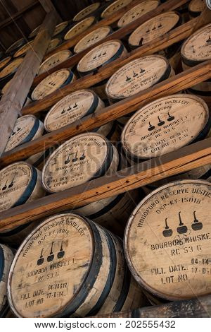 Versailles United States: May 3 2017: Looking at Racks of Bourbon in Woodford Reserve Warehouse