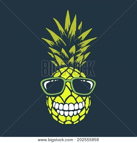 Smiling funny pineapple with sunglasses.Funny toothed ananas.Vector print design