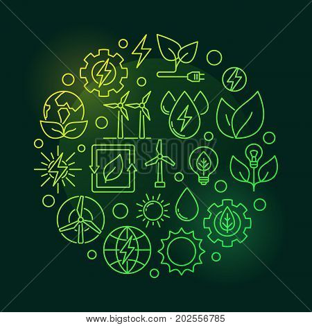 Eco Energy round green illustration. Vector green power concept symbol made with wind, solar, water and biomass outline icons on dark background