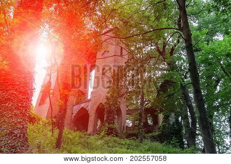 Ruined medieval castle through trees branches in Villa Sorra. Castelfranco Emilia Modena Italy