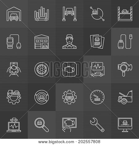 Vehicle diagnostics icons. Vector collection of check engine light diagnostics outline concept signs on dark background