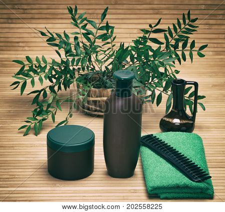 Natural hair care cosmetic products. Shampoo, hair mask, comb and towel with green plant branches. Toned image
