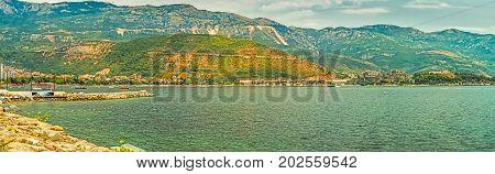 Budva, Montenegro - August 20, 2017: Panorama of the Gulf of the Adriatic Sea in Budva, Montenegro, where the most popular beaches are located on the Budva Riviera.
