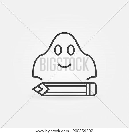 Ghost writing concept simple icon or design element in thin line style