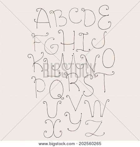 Abc letters sequence from A to Z. Capital letters hand drawn with ink in simple style with swirls decoration. Vector collection good for creative writing and lettering.