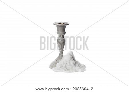 Candlestick Isolated on White Background old candlestick without candle