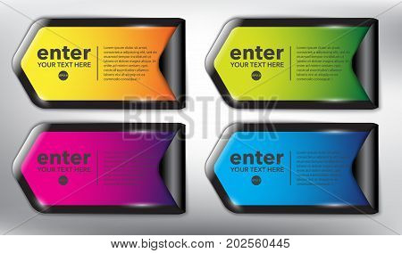 Abstract vector sticker set of 4. Vector round stickers with curled corner and place for your text. Colorful and glossy on the white panel. Vector illustration. Eps10.