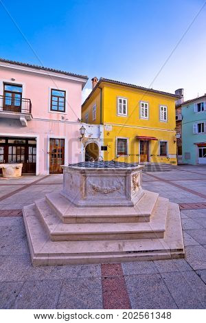 Town Of Krk Historic Main Square Stone Well View