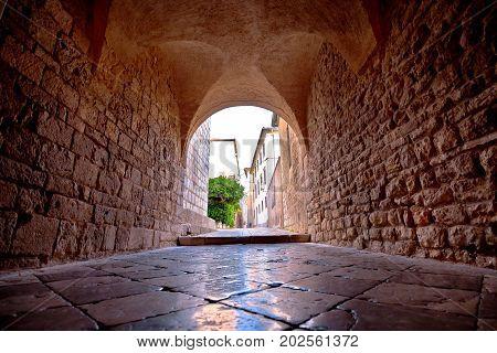 Town Of Krk Historic Stone Steet Passage View,