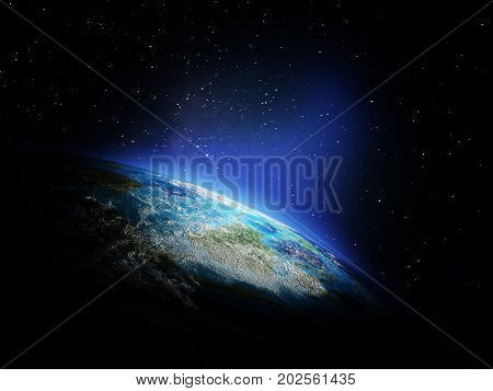 Planet from space. Elements of this image furnished by NASA 3d rendering