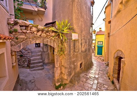 Colorful Paved Street Of Old Adriatic Town Vrbnik