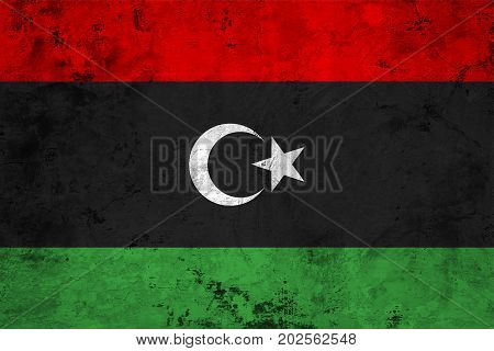 Flag of the Libya against the background of the stone texture