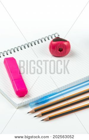 Wooden School Pencils With Pencil Case Pencil Sharpener And Copy Space