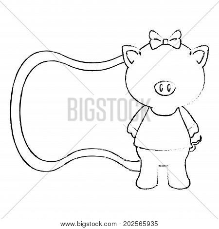 baby shower card with pig icon over white background vector illustration