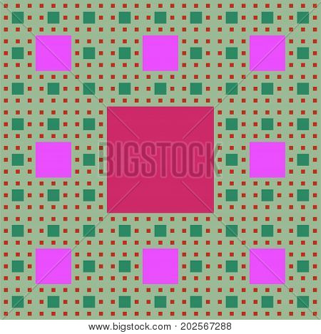 Sierpinski carpet patterns in fractal style multicolored background in green purple and red colors vector EPS 10