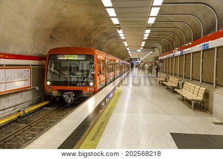 HELSINKI FINLAND - AUGUST 13 2017: Underground metro station in Kamppi in Helsinki Finland on August 13 2017