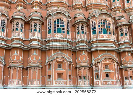 JAIPUR RAJASTHAN INDIA - MARCH 10 2016: Horizontal picture of Hawa Mahal in Jaipur known as pink city of Rajasthan in India.