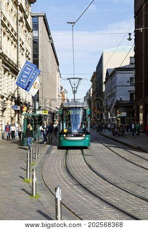 HELSINKI FINLAND - AUGUST 13 2017: Tram in the city centre of Helsinki Finland on August 13 2017