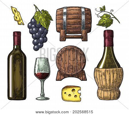 Wine set. Bottle, glass, barrel, cheese, bunch of grapes with berry and leaf. Vintage color engraved vector illustration isolated on white background. For label poster, web.