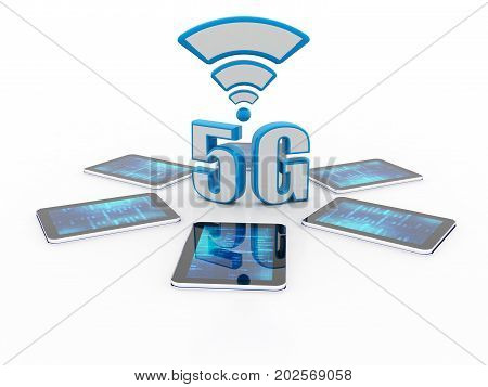 3d rendering 5G Network 5G Connection,Mobile telecommunication cellular high speed data connection business concept