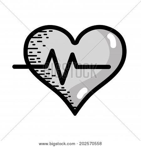 grayscale heartbeat vital sign to ekg frequency vector illustration