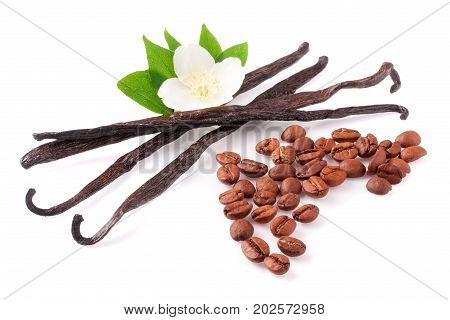 Vanilla sticks and coffee beans with flower isolated on white background.