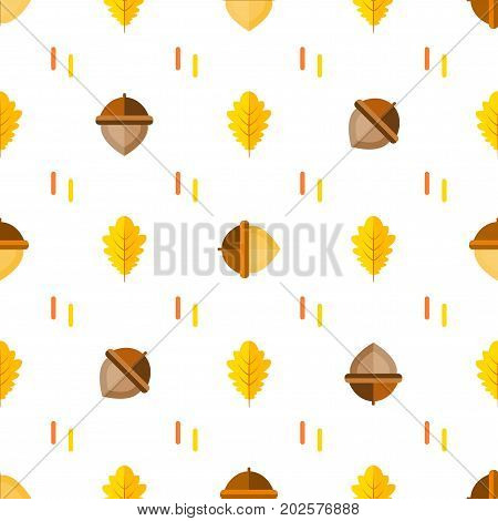 Seamless symmetrical pattern with acorns and autumn oak leaves orange, yellow on white background. Vector background in style flat